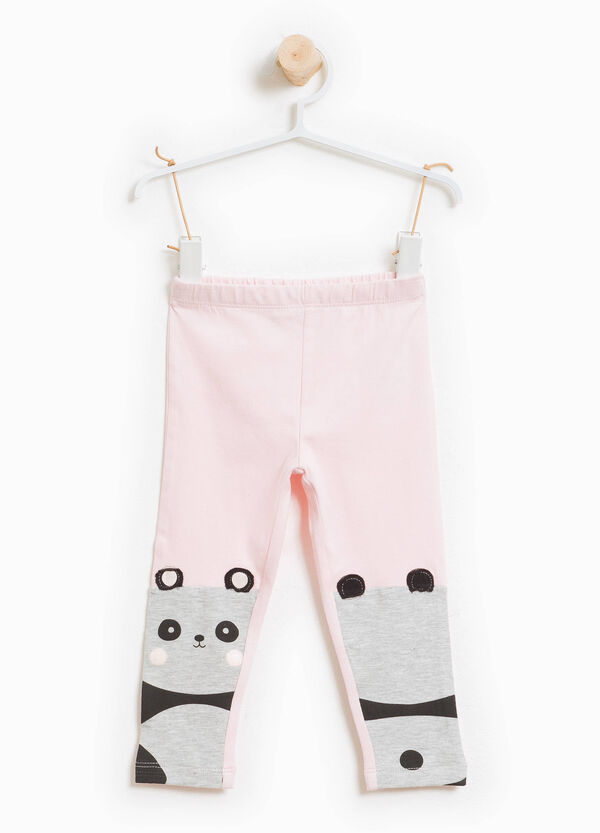 Cotton leggings with patch and panda print | OVS
