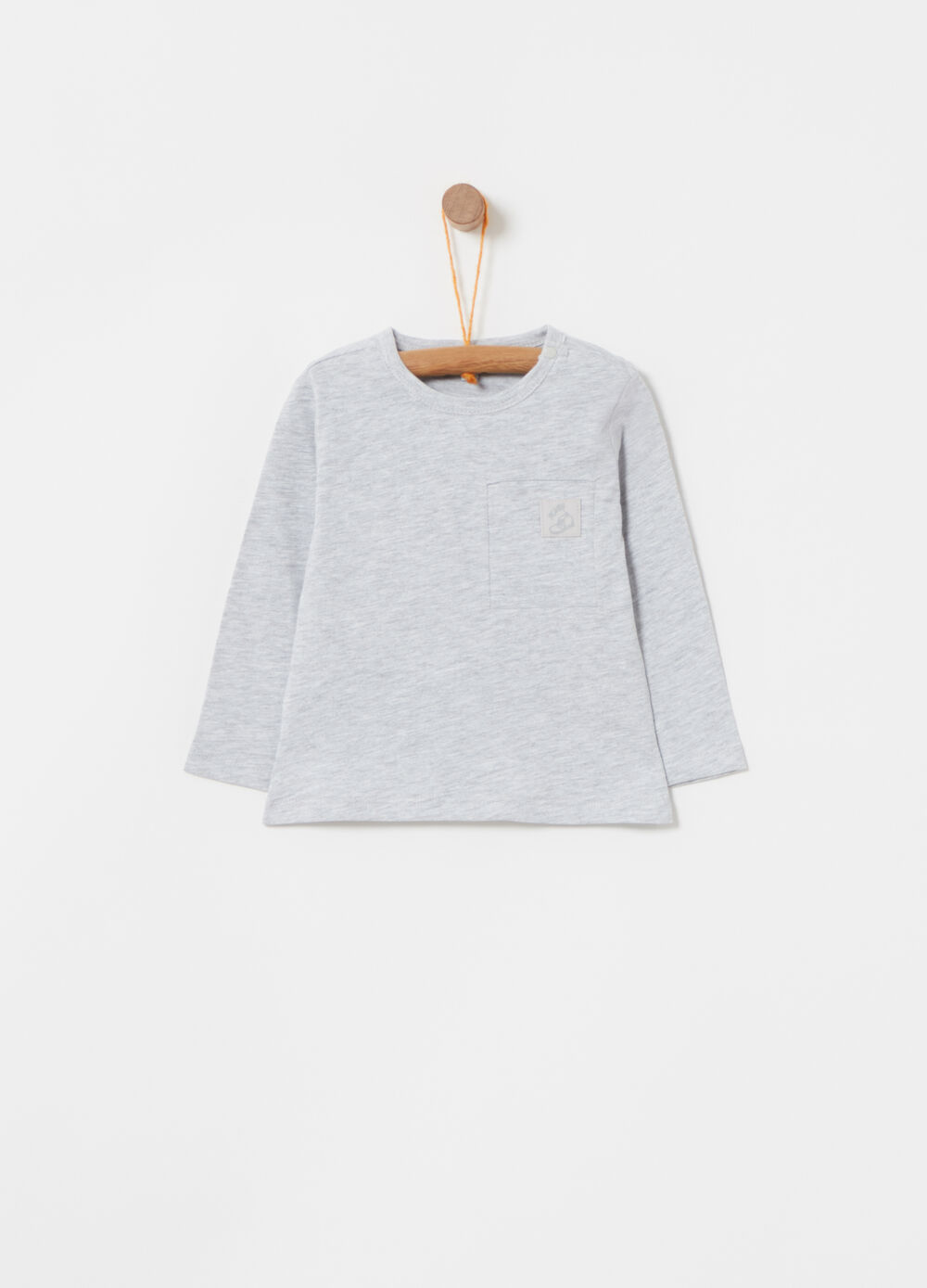 Mélange T-shirt with round neck and patch