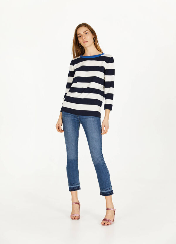 Ankle-fit washed-effect stretch jeans