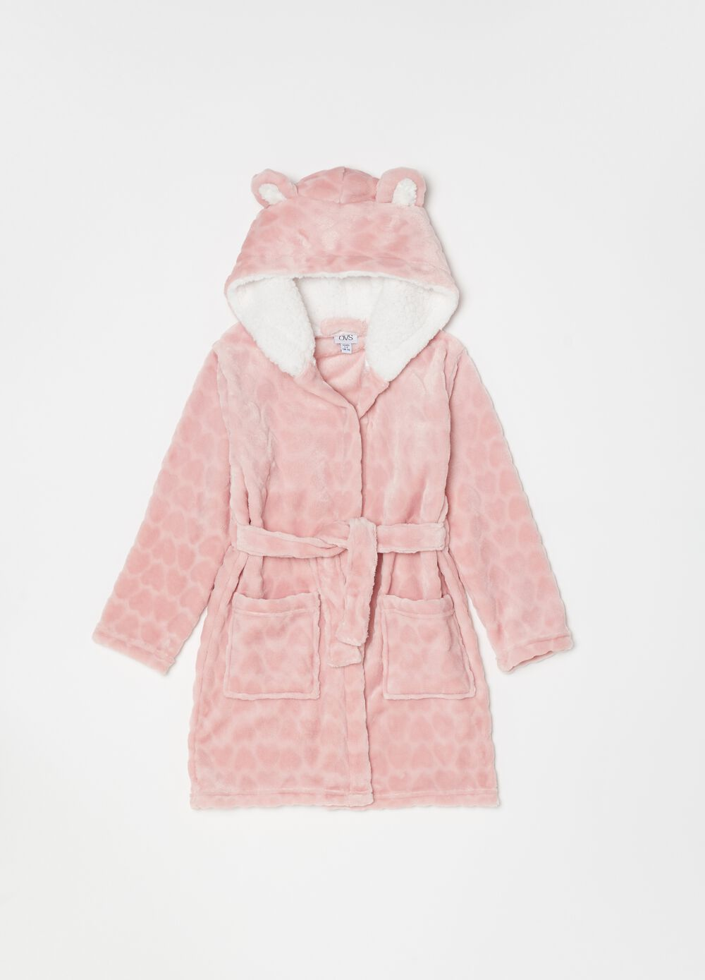 Chenille dressing gown with hearts and ears