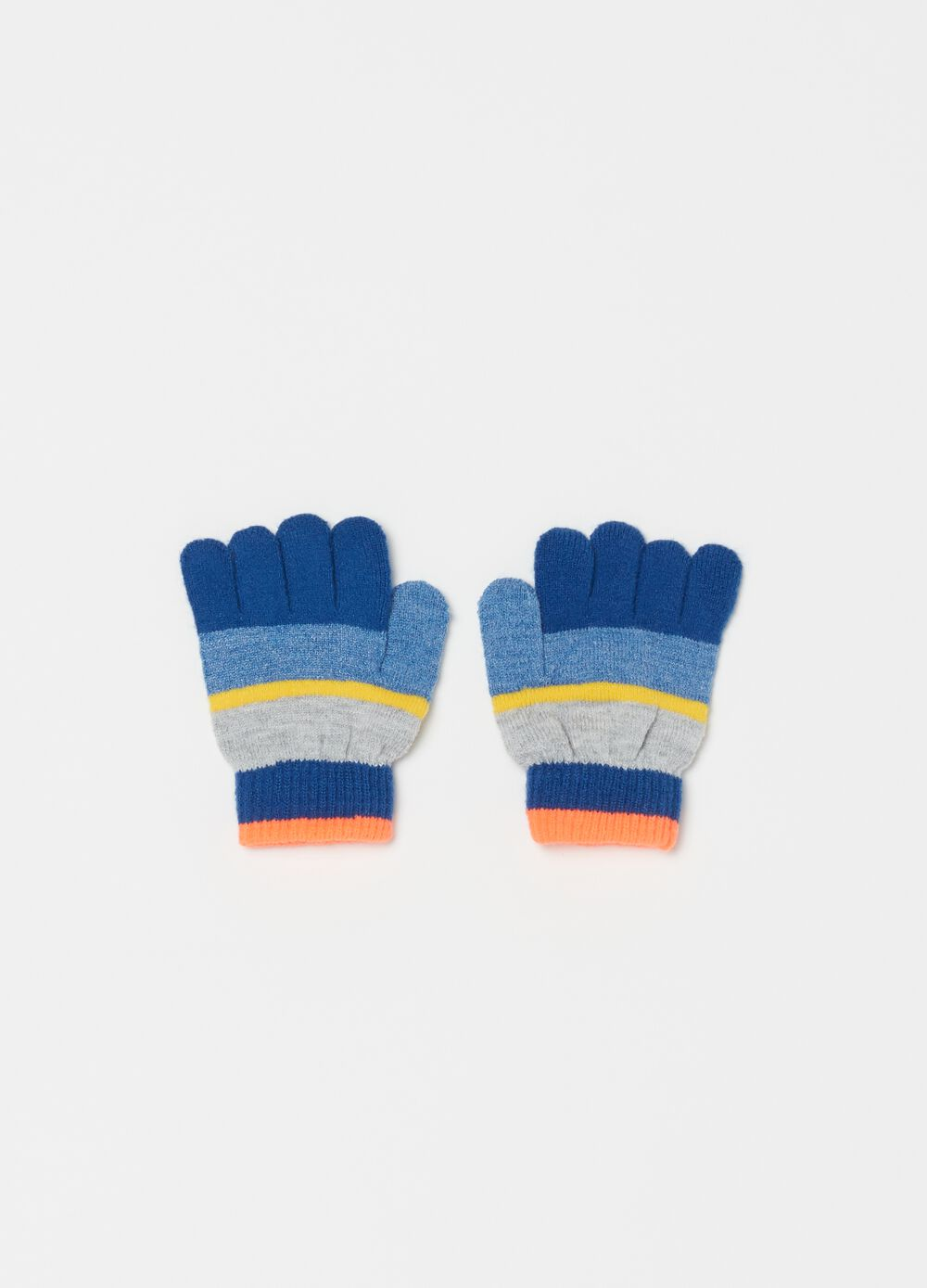Ribbed knit gloves with striped pattern