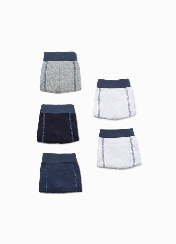 Five-pack cotton boxer shorts with stitching