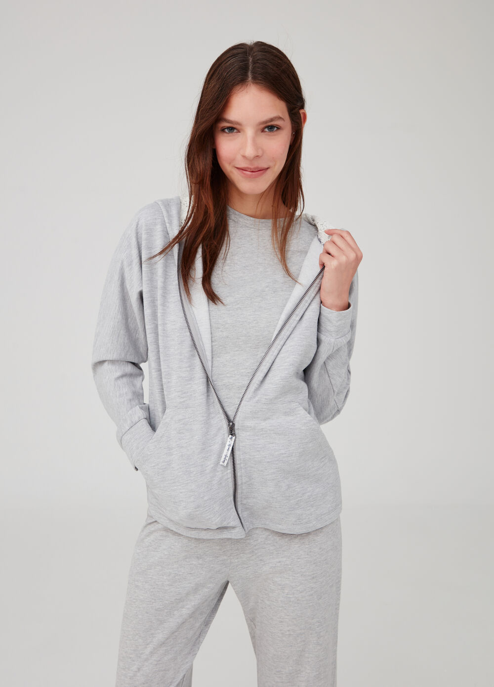 Homewear hoodie with lace trim