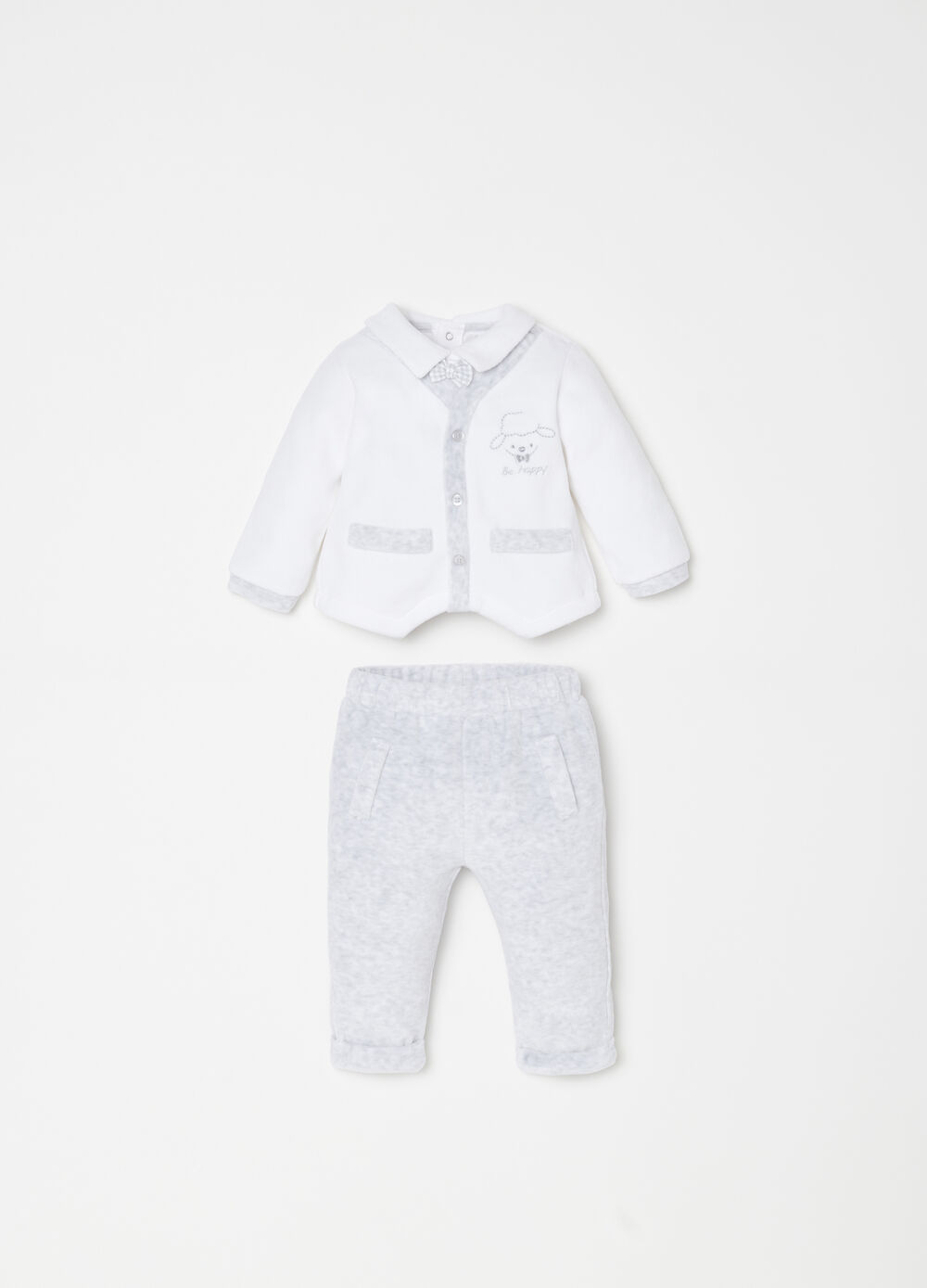 Jacket and trousers set with sheep embroidery