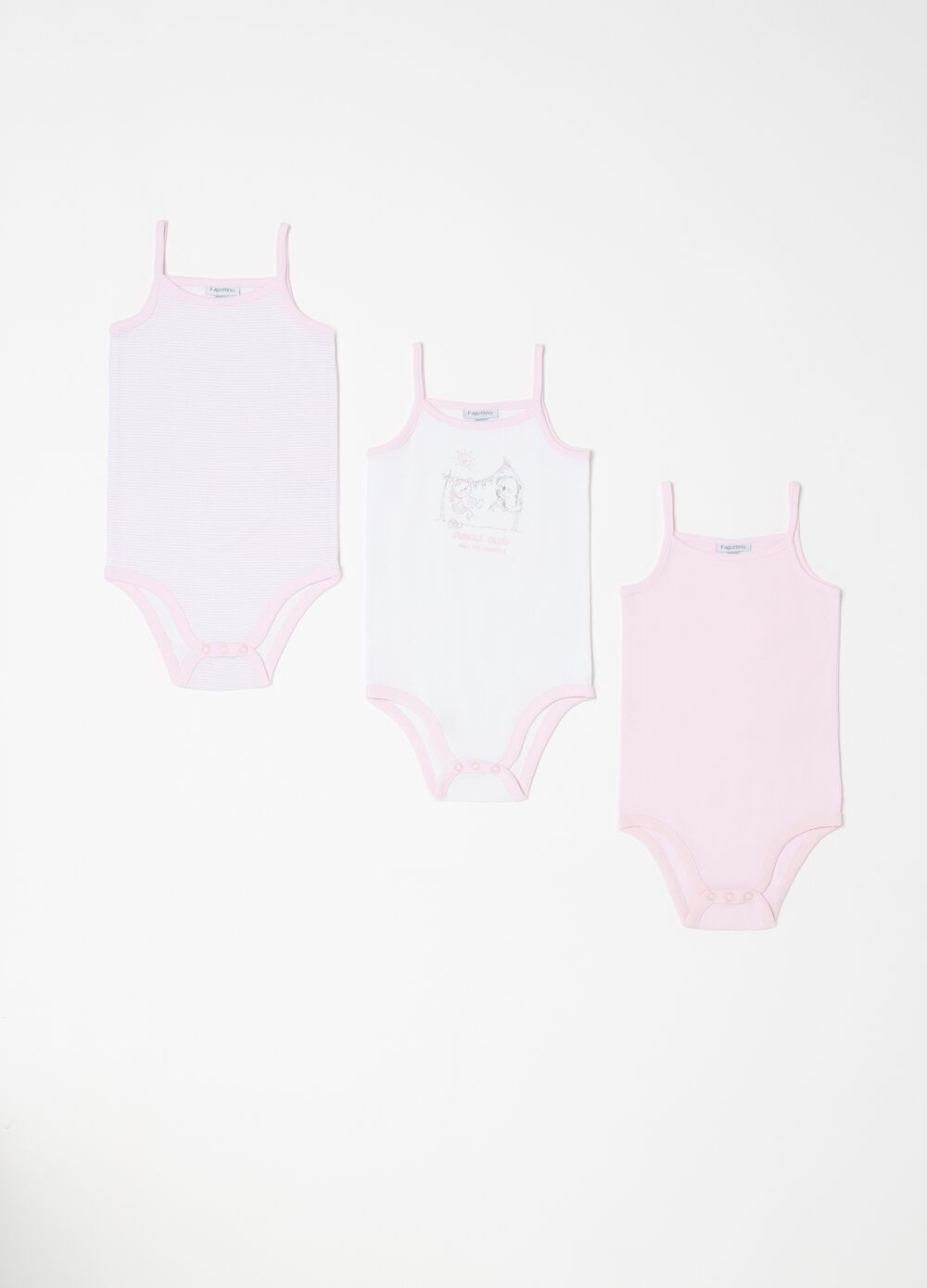 Three-pack sleeveless bodysuits in 100% cotton