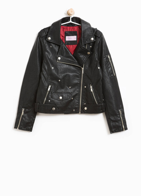 Biker jacket with star-shaped studs