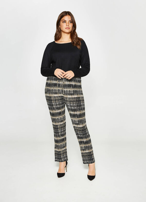 Curvy trousers with striped print   OVS
