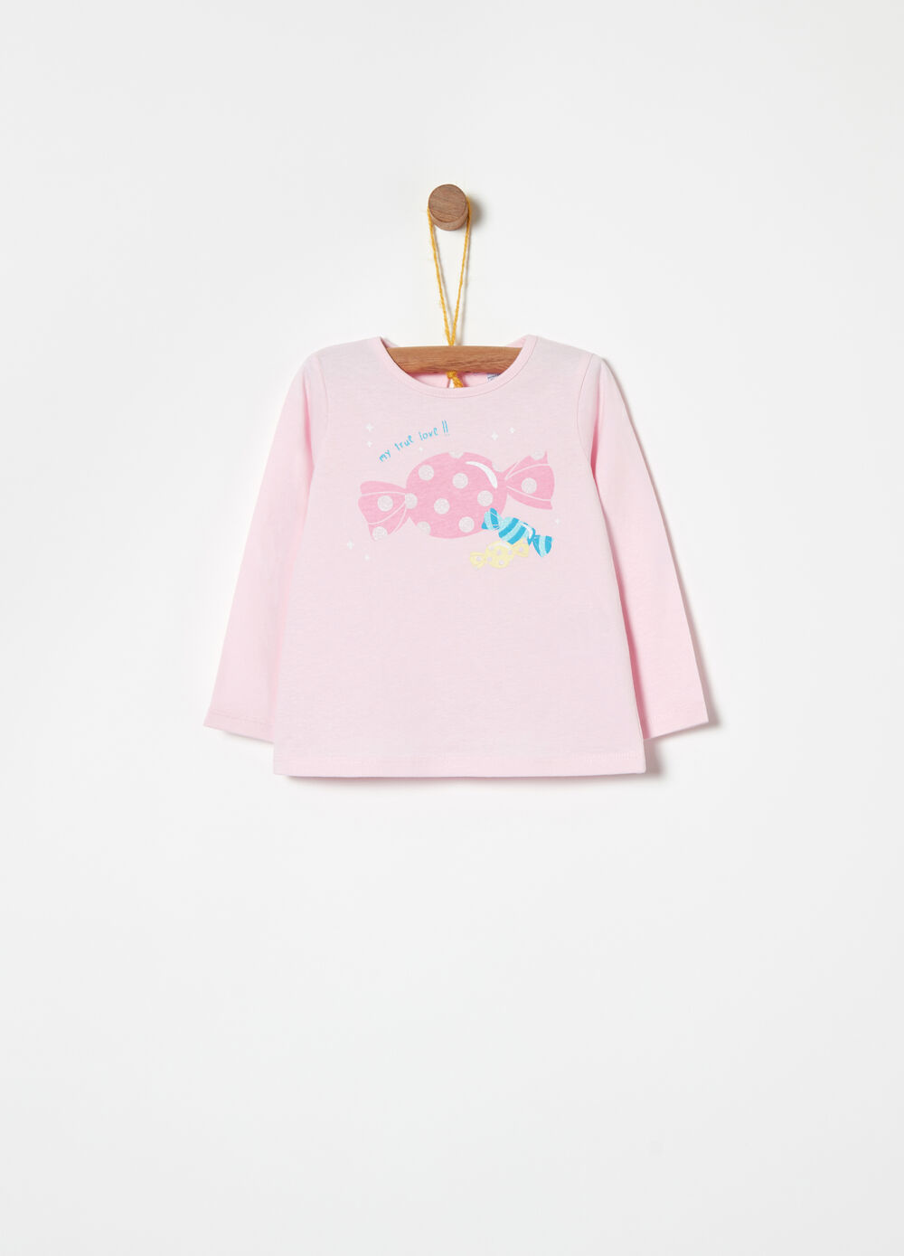 Warm cotton T-shirt with glitter and print