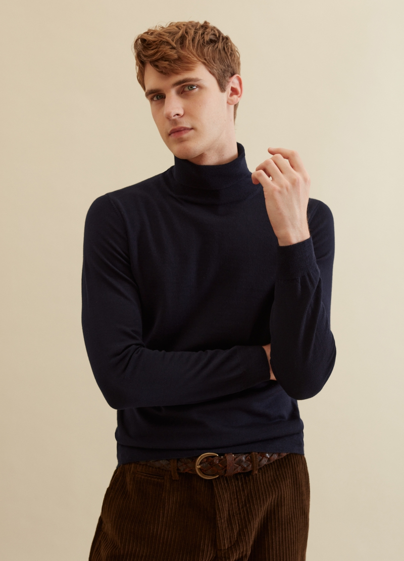 PIOMBO pullover in merino wool with high neck image number null