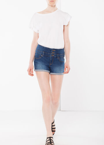 Three-button denim shorts