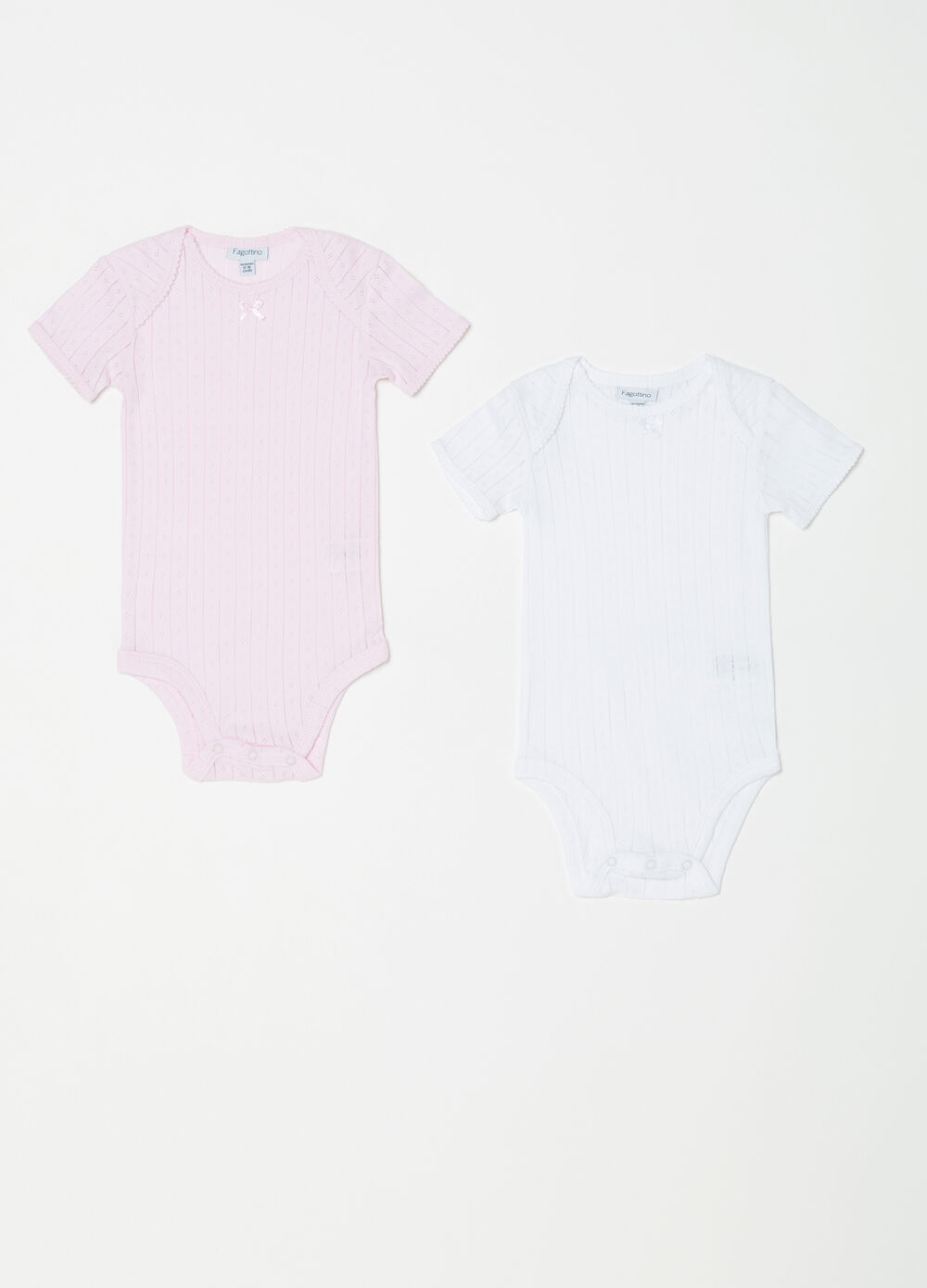 Two-pack cotton bodysuits with jacquard and waves