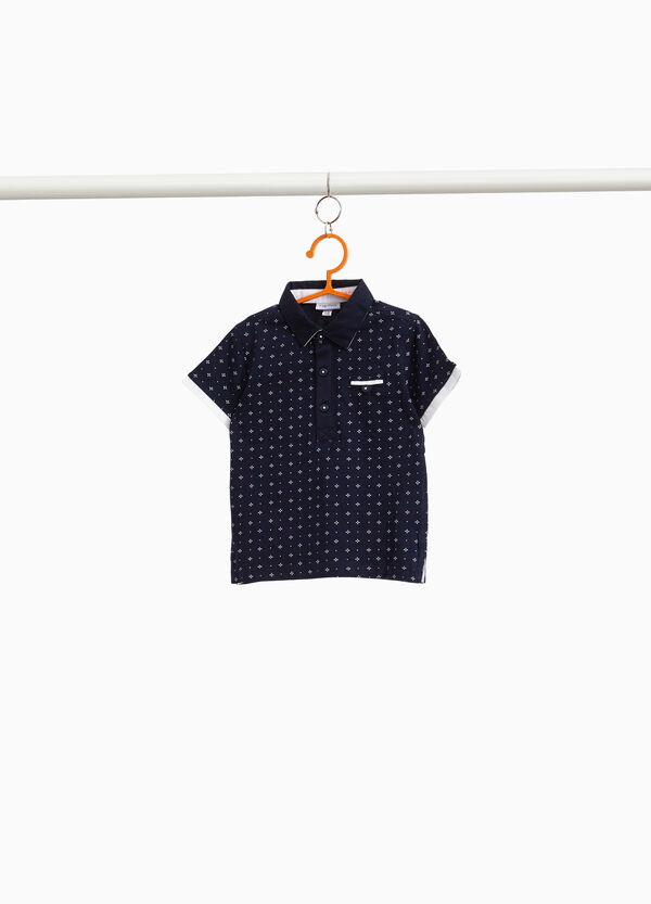100% cotton polo shirt with all-over print