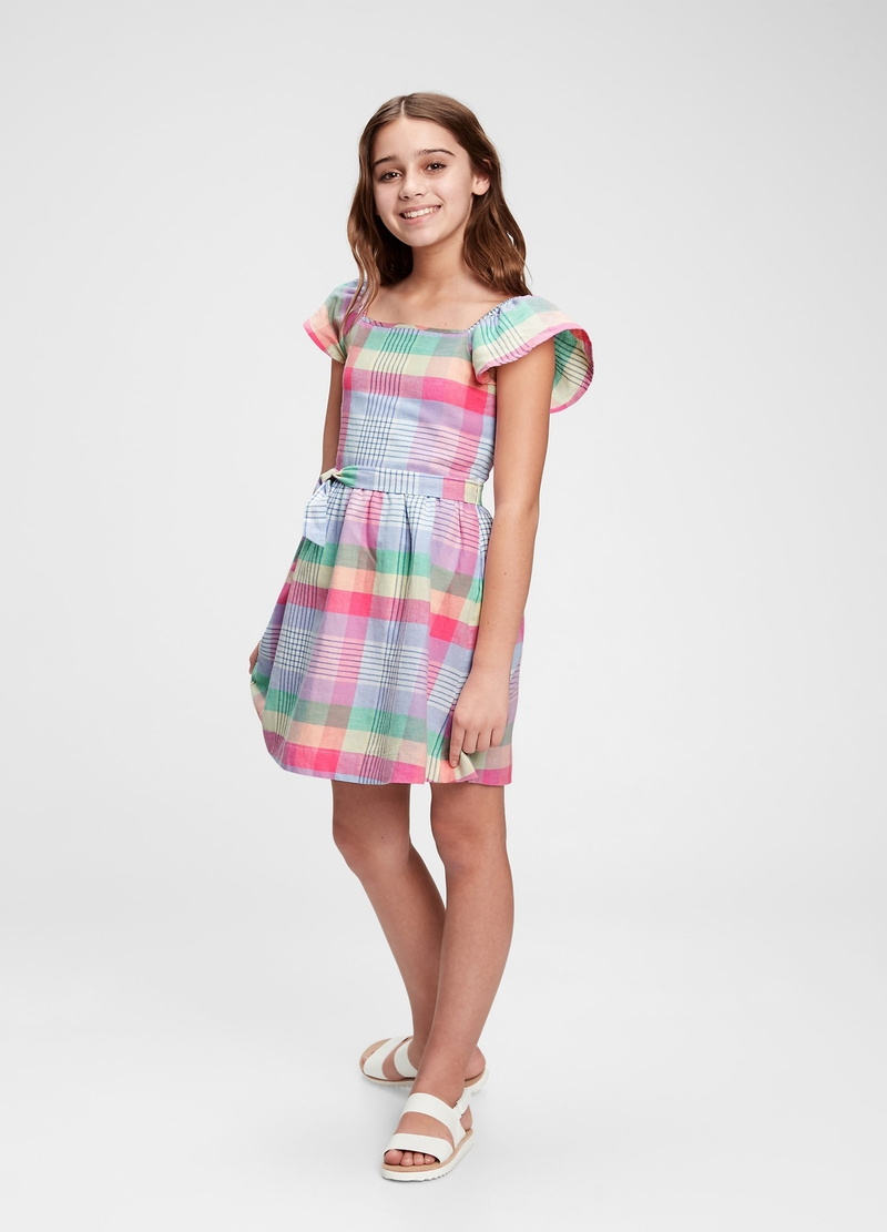 GAP check linen and cotton dress image number null