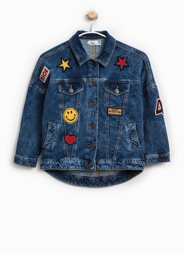 Stretch denim jacket with patch | OVS