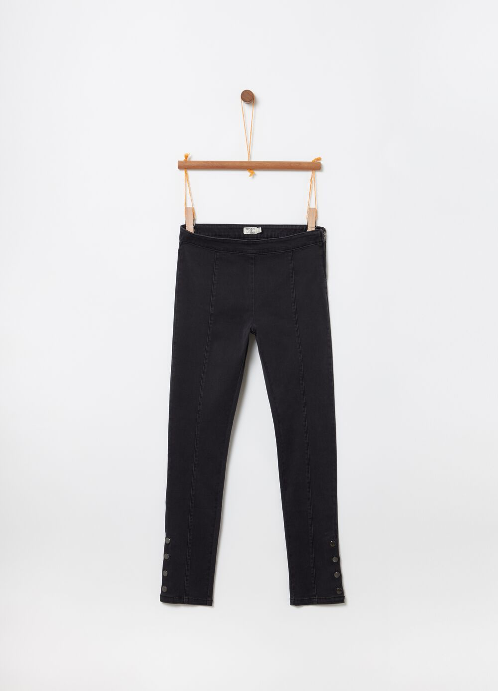 Stretch jeggings with zip