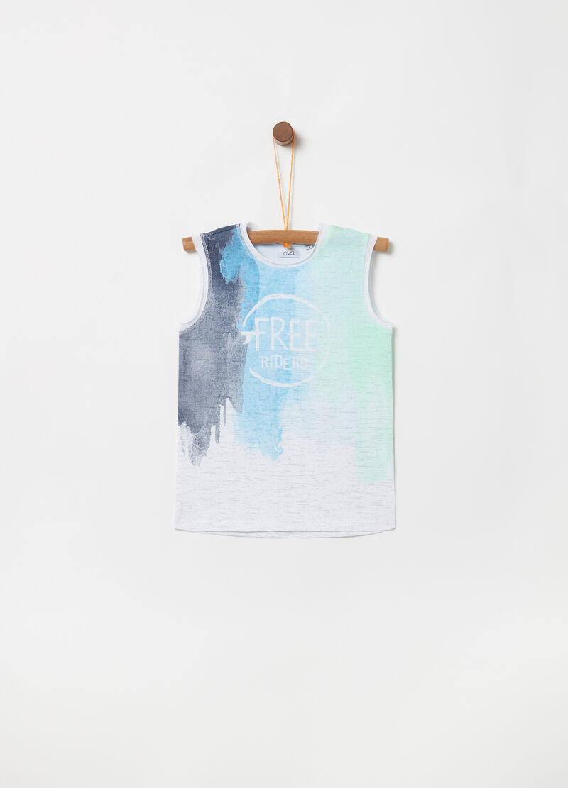 Multicoloured vest top with lettering print