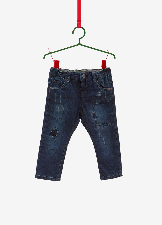 Regular-fit worn-effect jeans with stitching