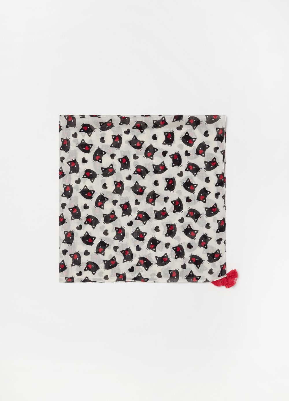 Pashmina in 100% viscose with cats pattern