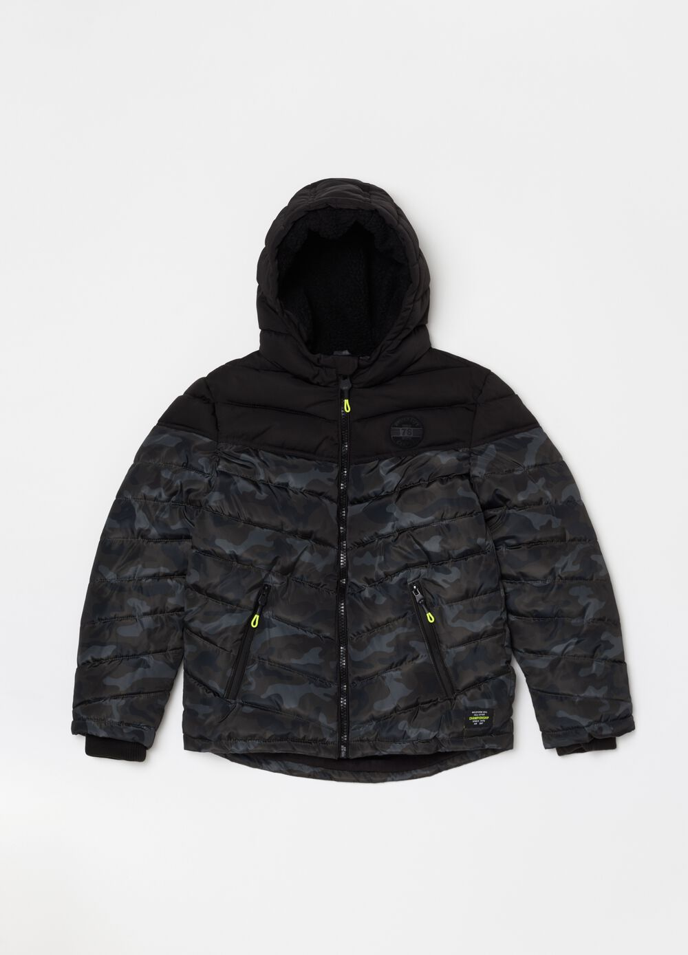 Padded and quilted camouflage jacket