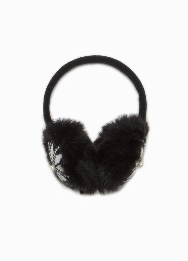 Earmuffs with faux fur and embroidery
