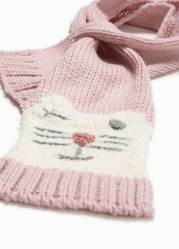 Knitted scarf with animal embroidery   OVS