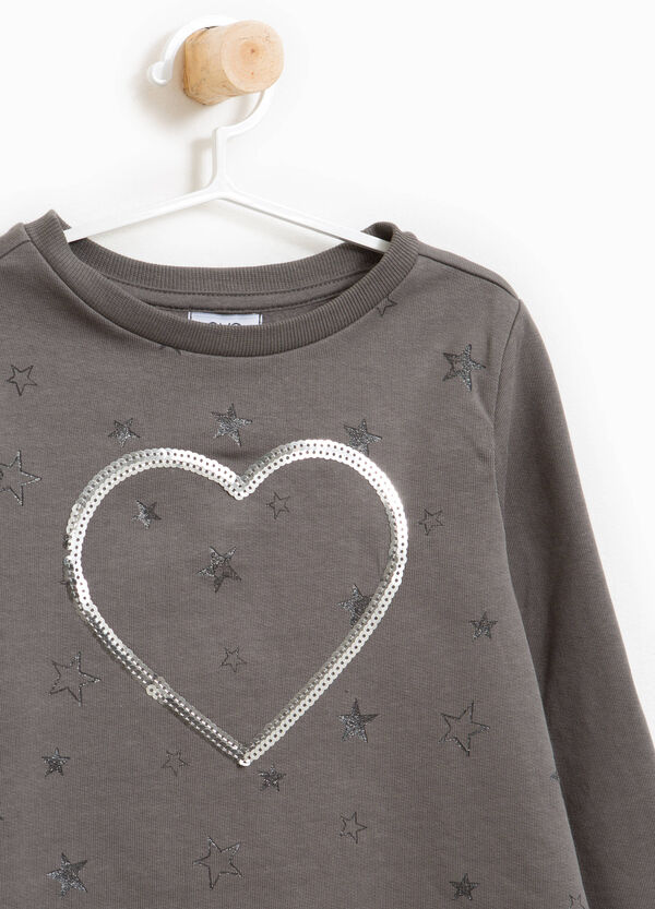 Stretch cotton sweatshirt with glitter stars | OVS