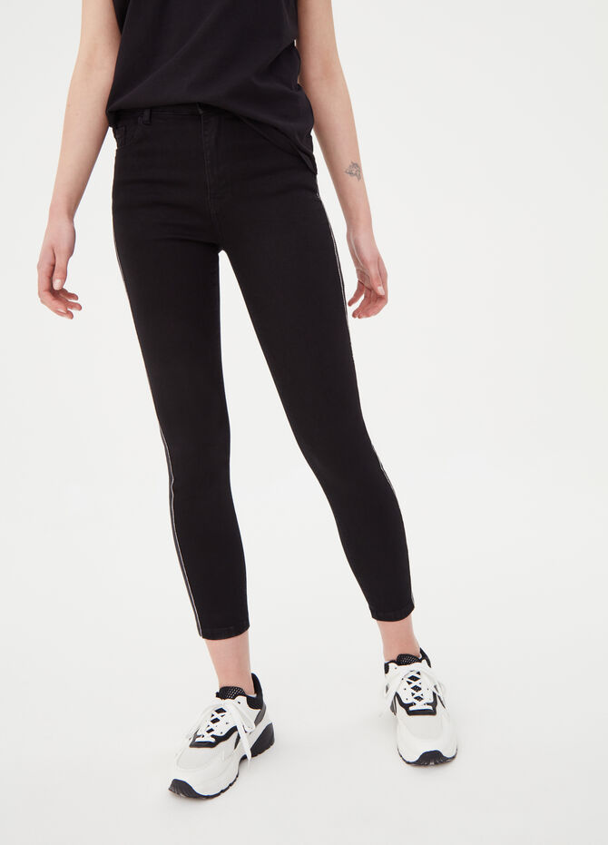 Skinny-fit jeans with bands and diamantés