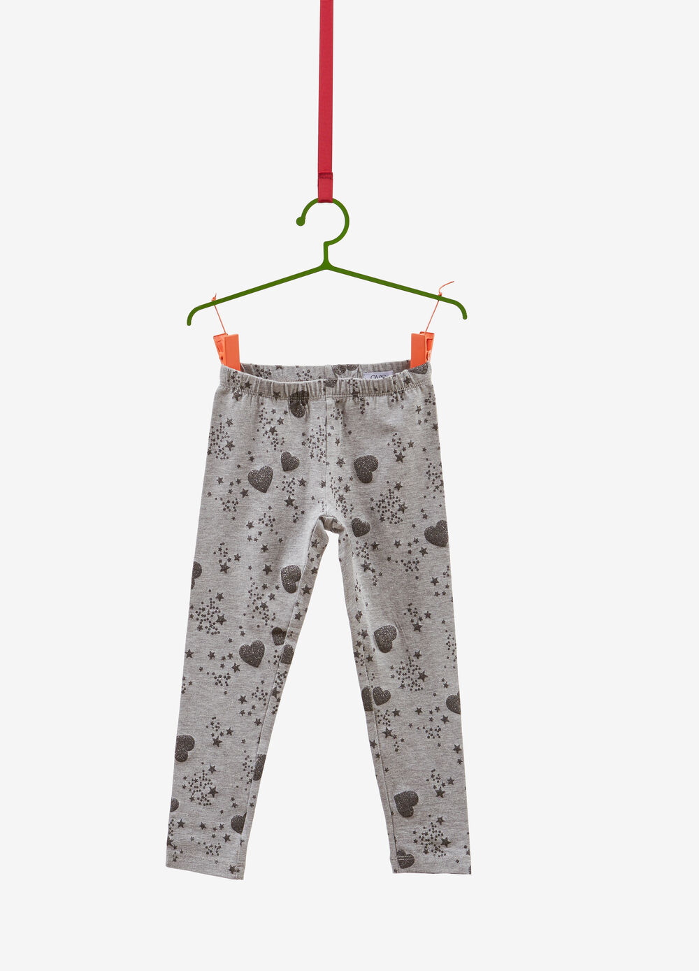 Stretch leggings with glitter stars and hearts