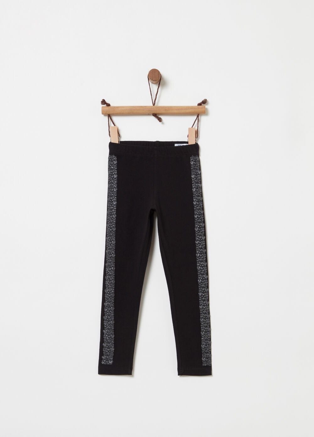 Stretch jersey leggings with glitter band
