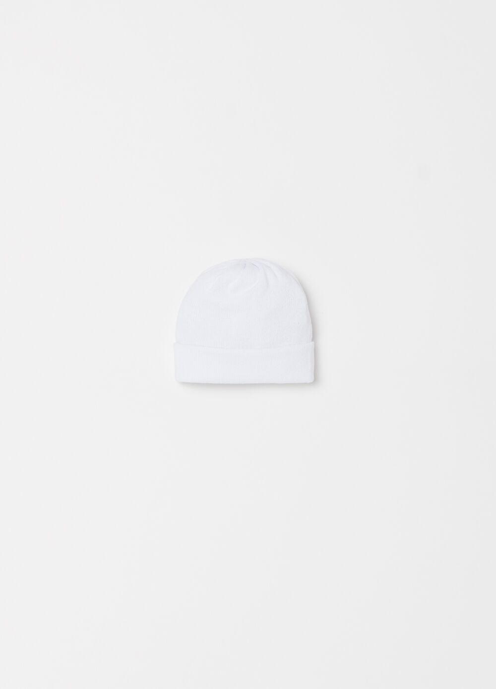 Knitted hat with turned up edge