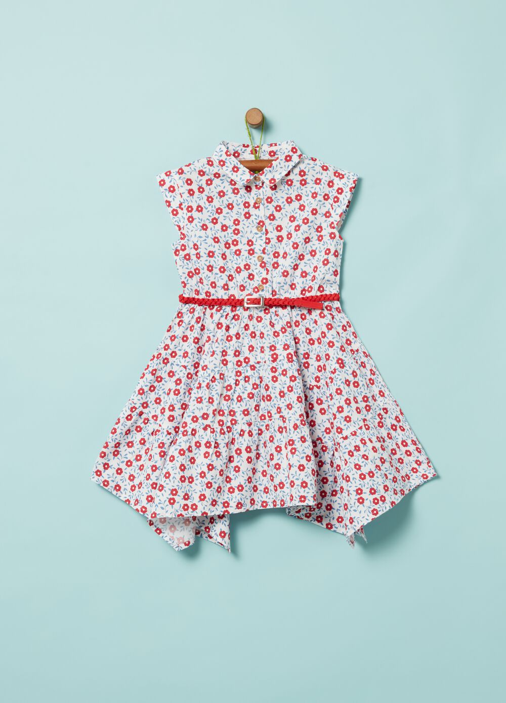 Dress with all-over print and collar