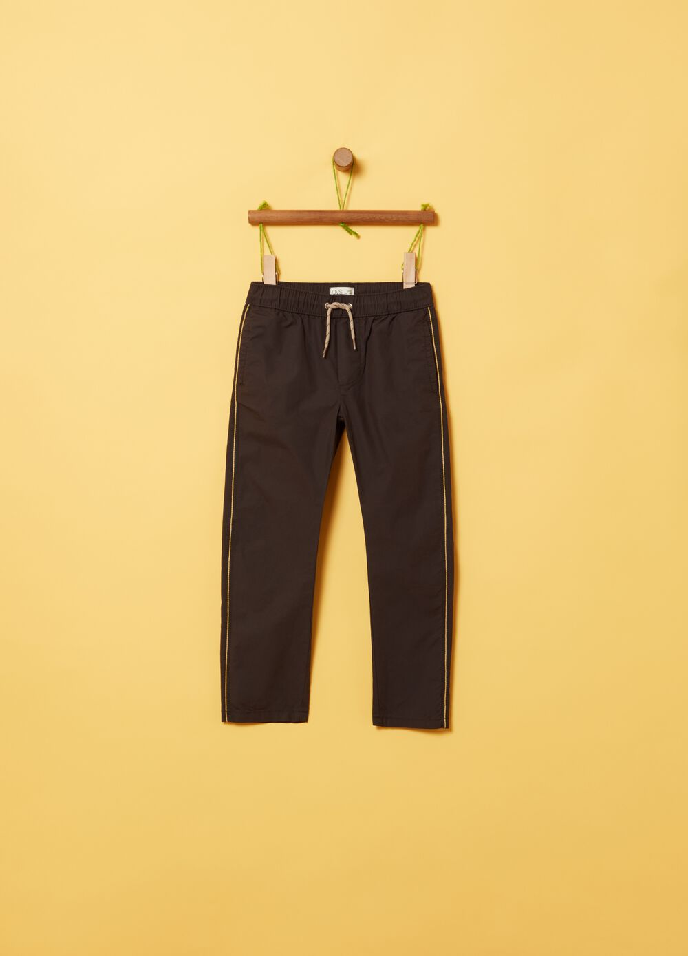 Trousers in organic poplin with insert