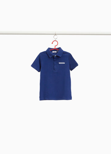 100% cotton polo shirt with lettering patch