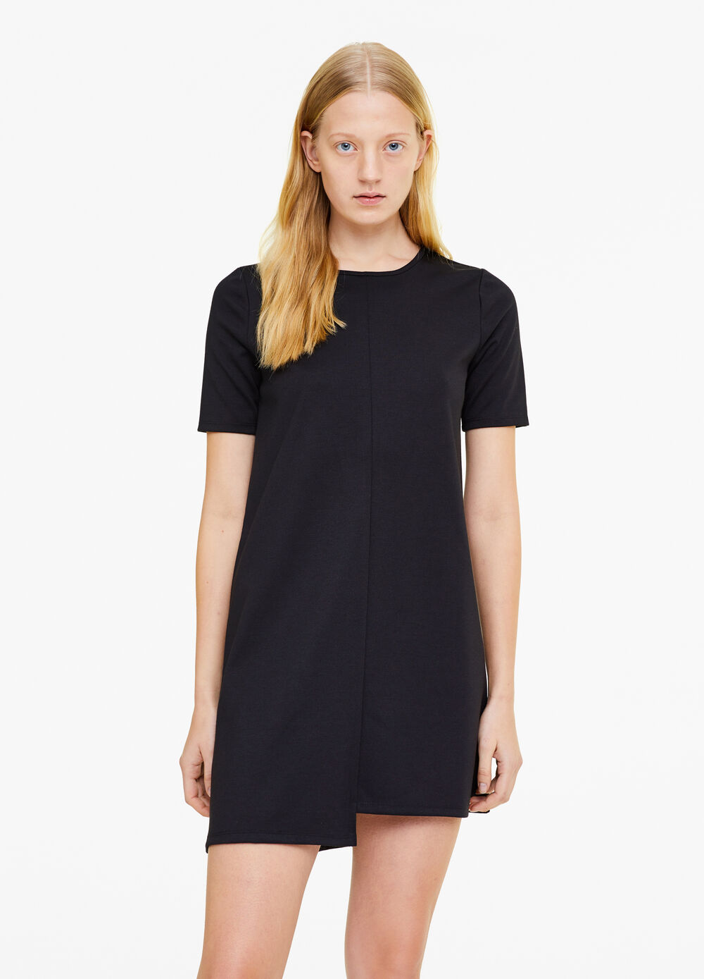 Stretch viscose blend dress with round neck