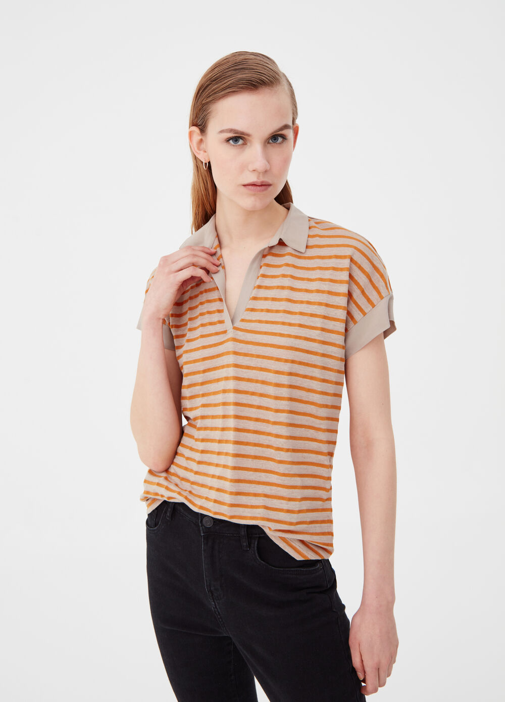 Striped linen and cotton polo shirt