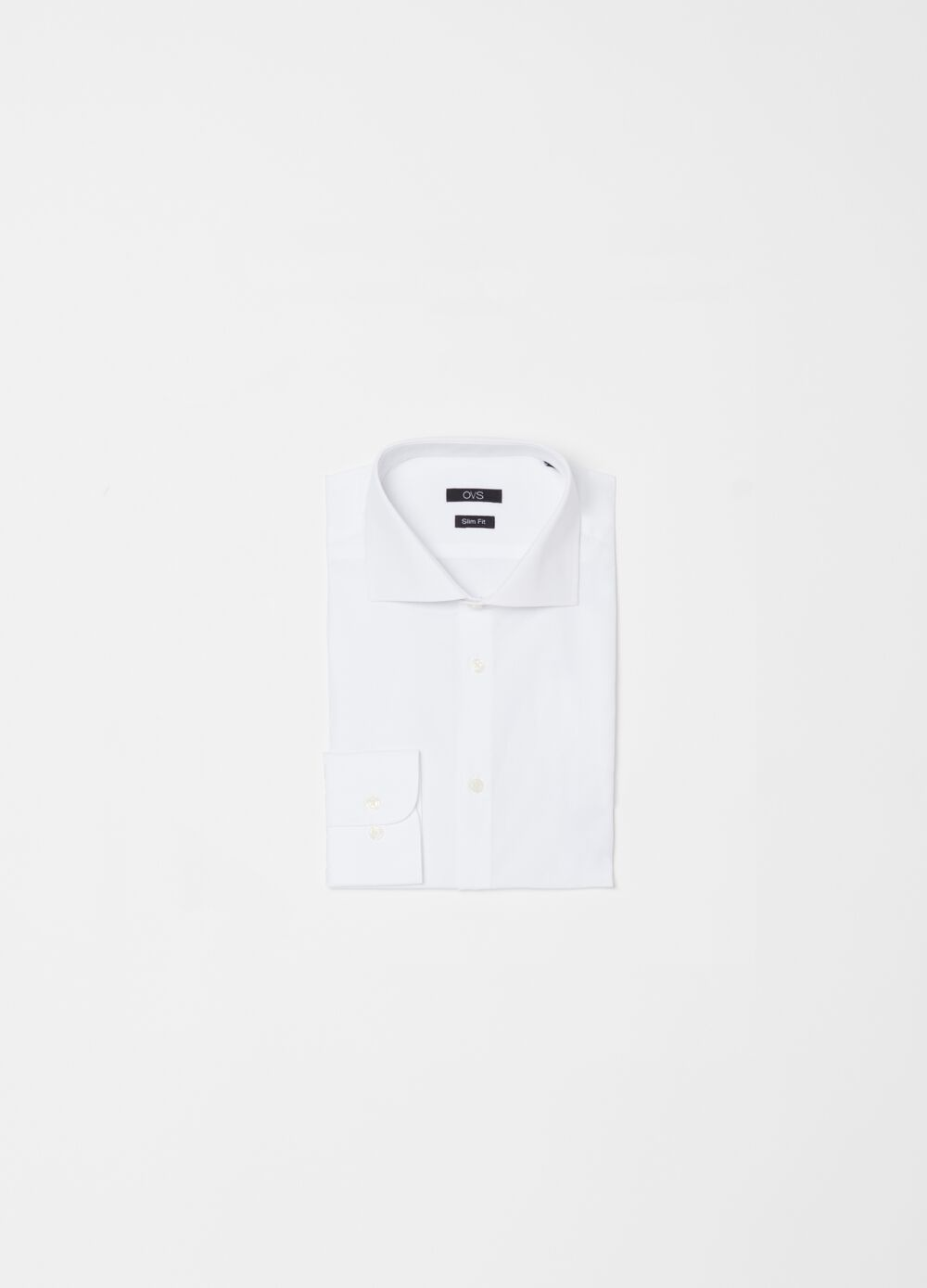 Slim-fit 100% cotton shirt with bluff collar