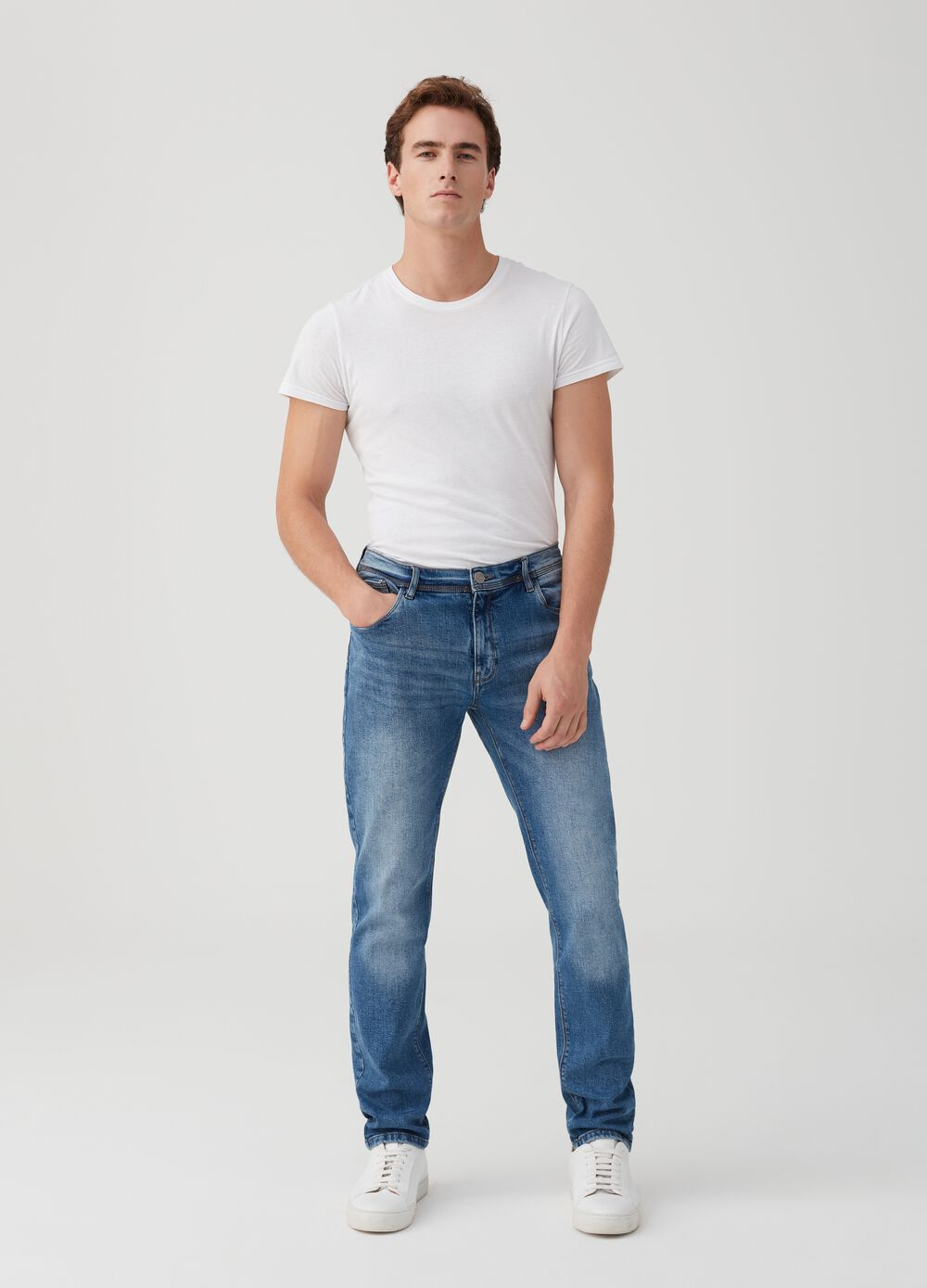 Five-pocket slim-fit faded jeans