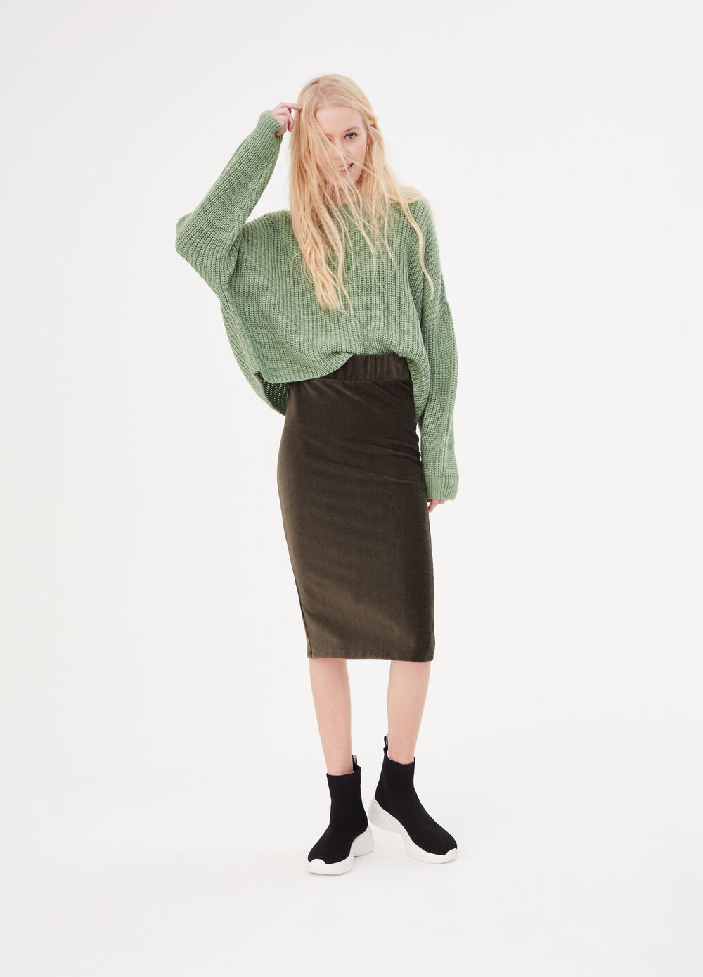 Solid colour stretch pencil skirt