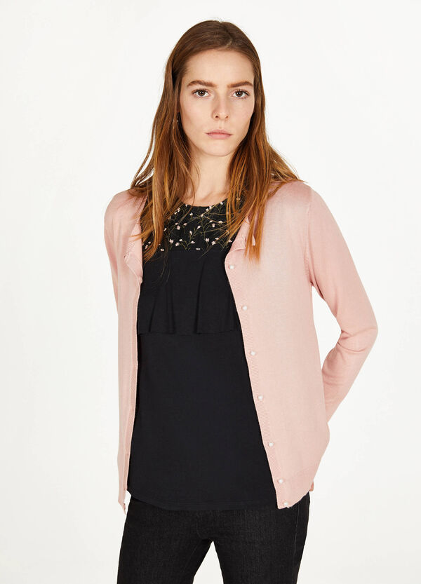 Solid colour viscose blend cardigan