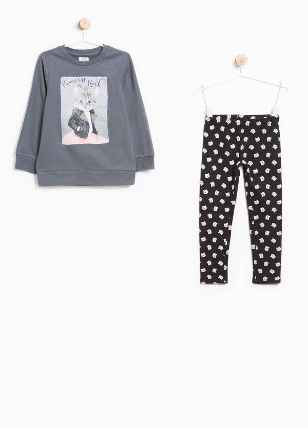 Cotton tracksuit with kitten pattern | OVS
