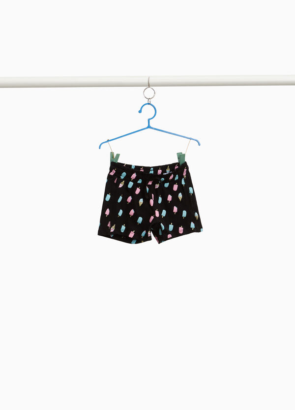 Stretch cotton shorts with ice cream print