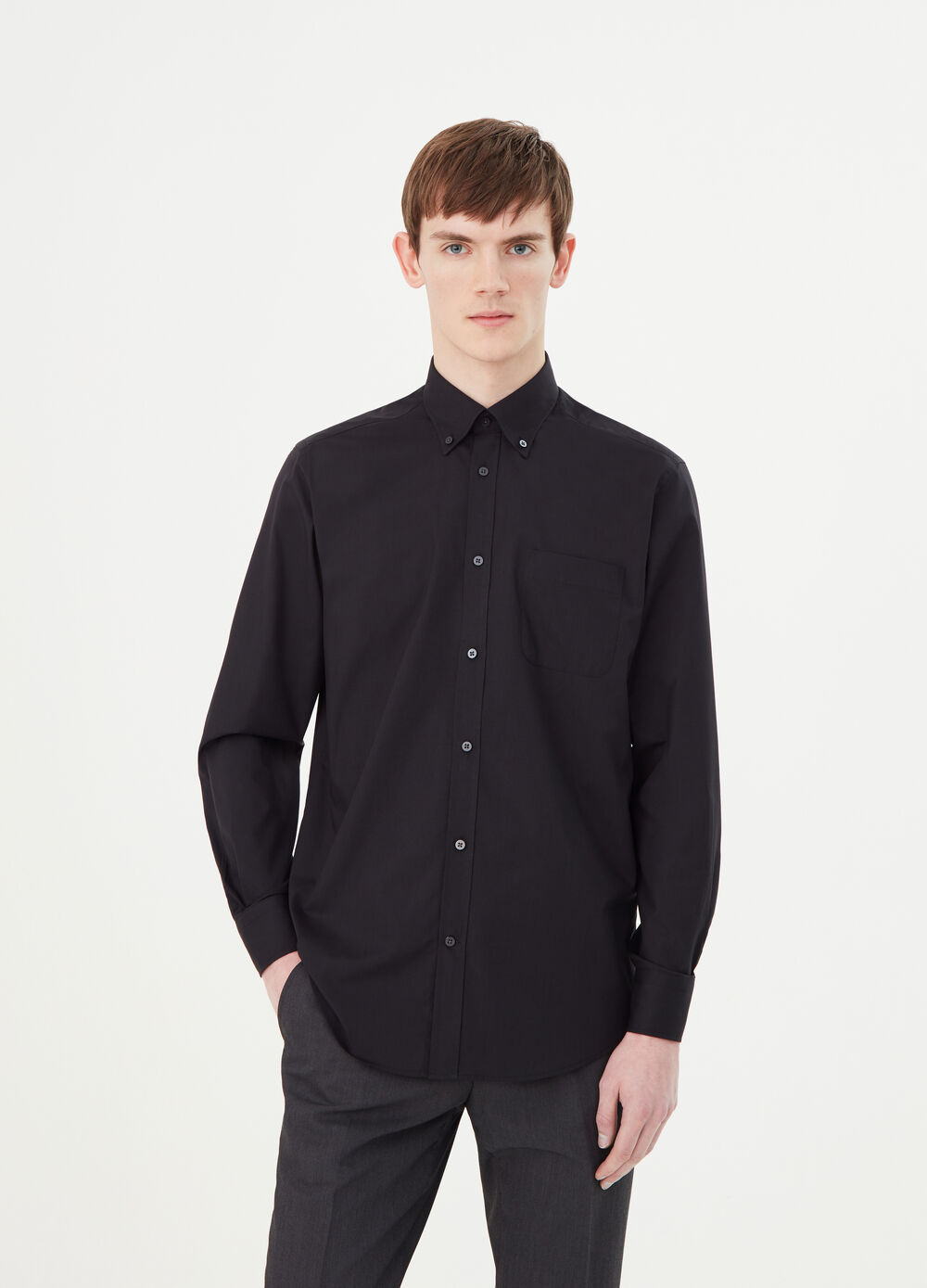 Regular-fit shirt with button down collar