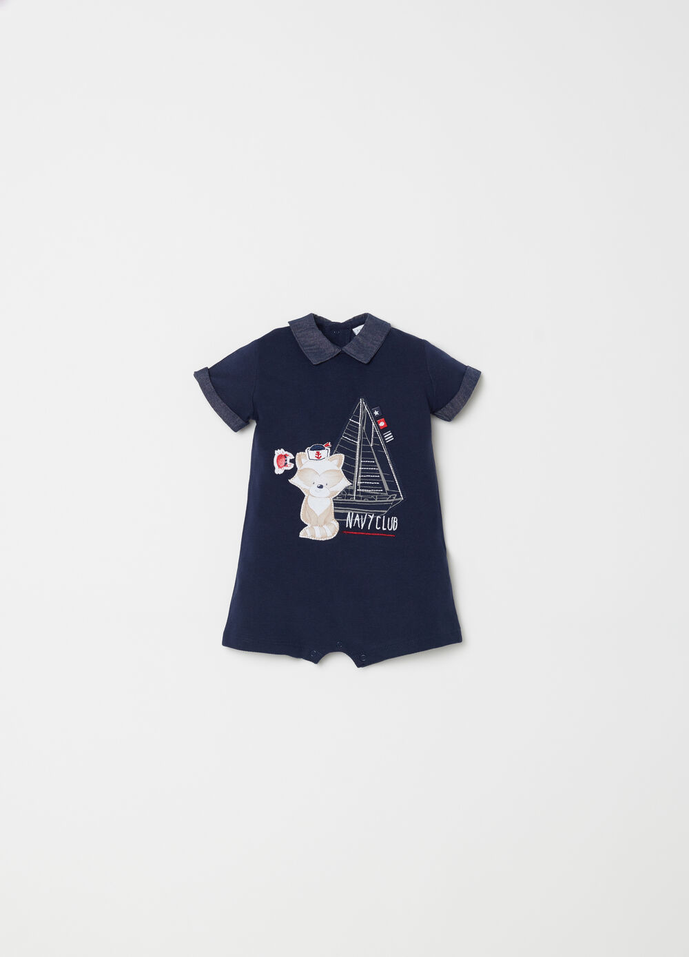 Short onesie with patch and embroidery