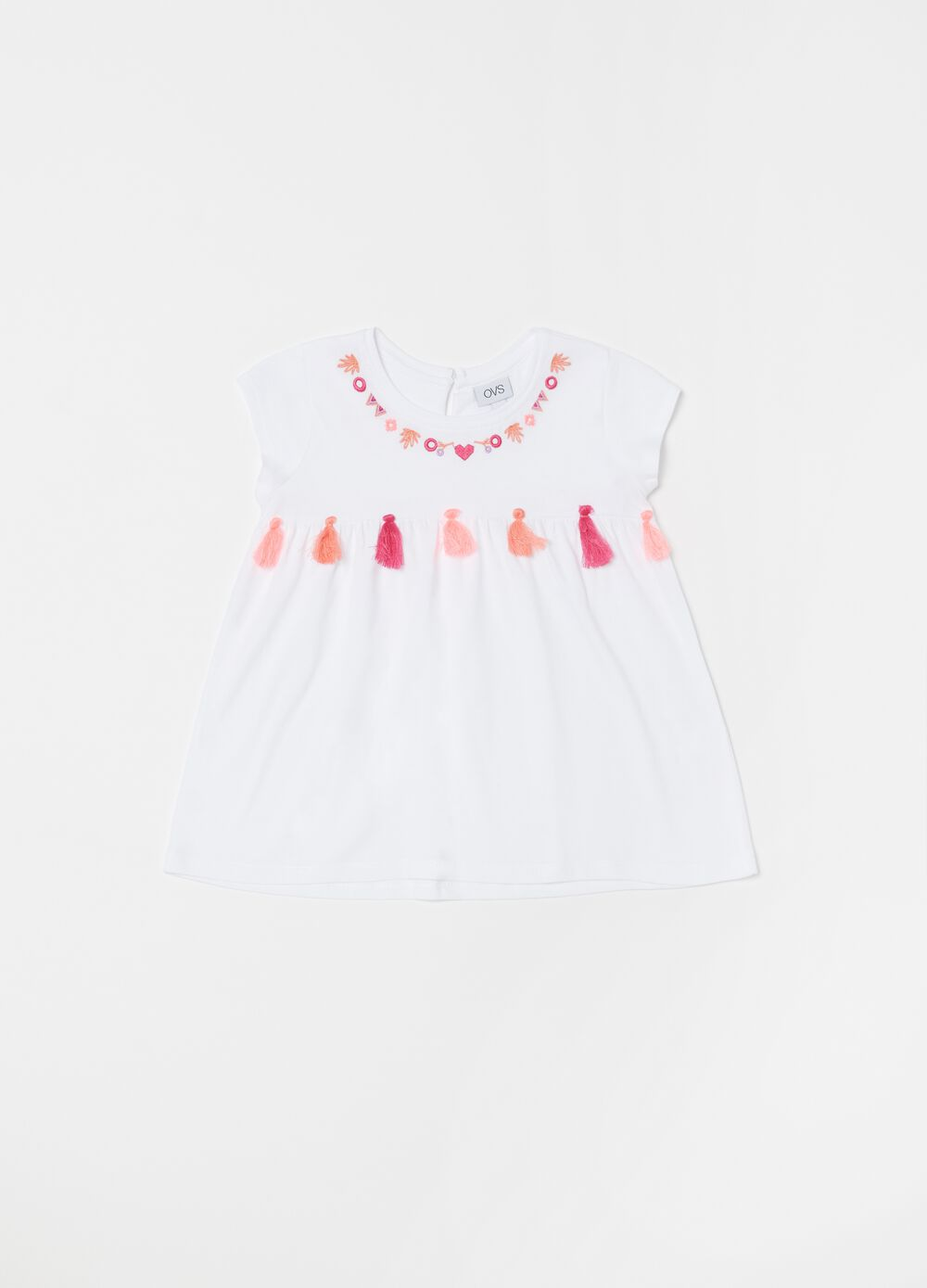 Biocotton pyjamas with top with tassels and shorts