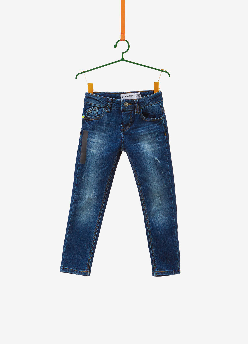 Straight-fit stretch jeans with fading and print