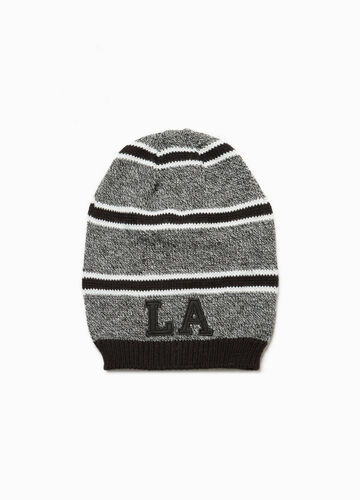 Striped knitted beanie cap with patches