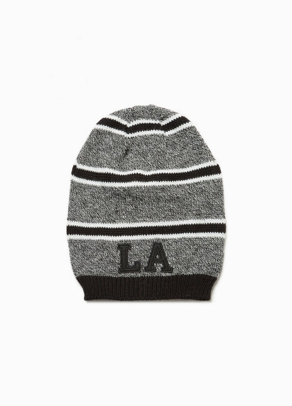 Striped knitted beanie cap with patches | OVS