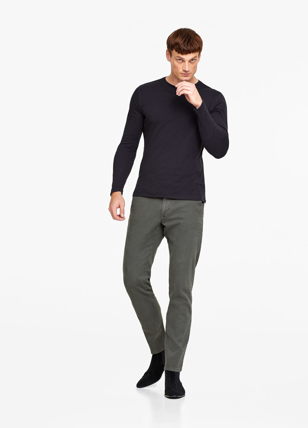 Solid colour slim-fit chino trousers