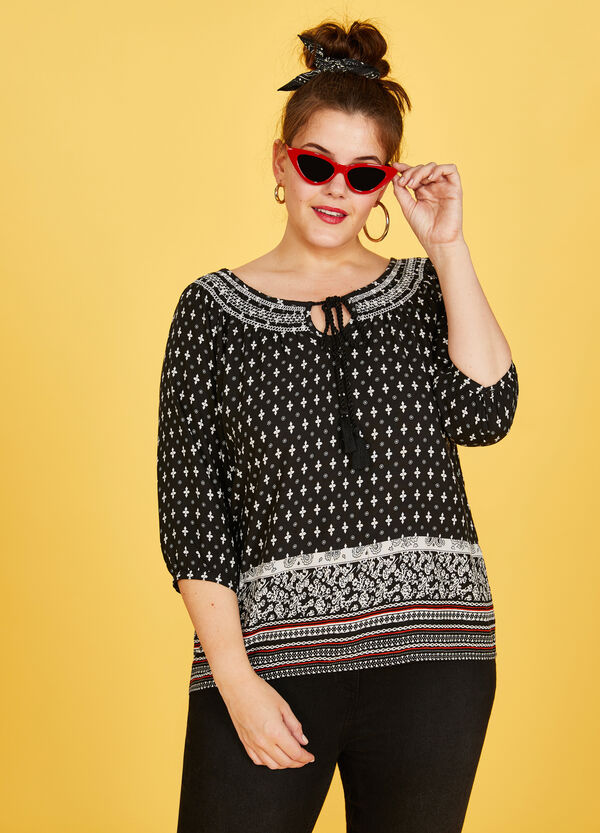 Curvy 100% viscose blouse with print