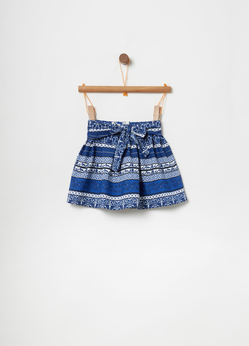 Cotton blend skirt with ethnic print
